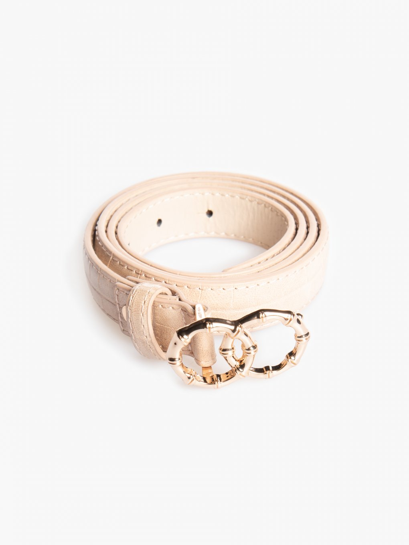Faux croc leather belt