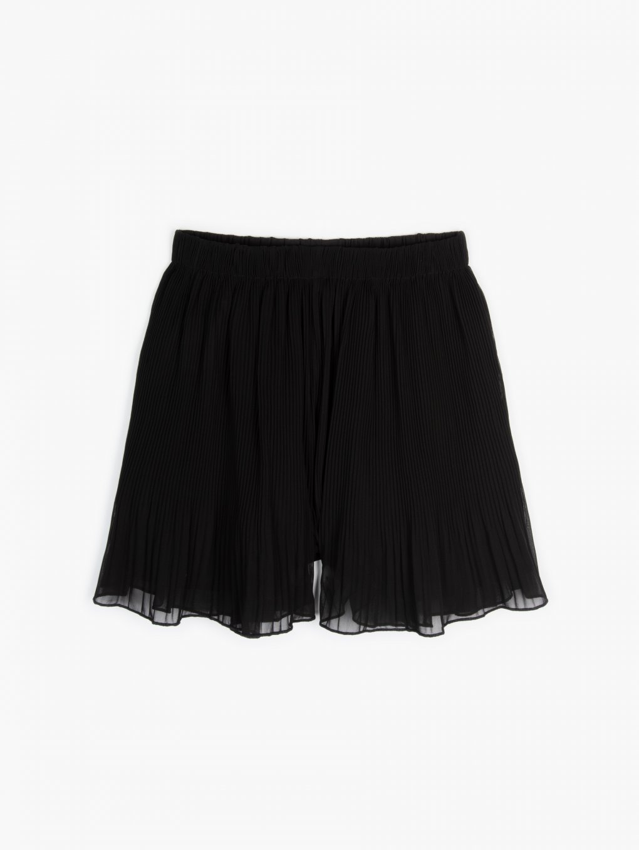 Pleated chiffon shorts