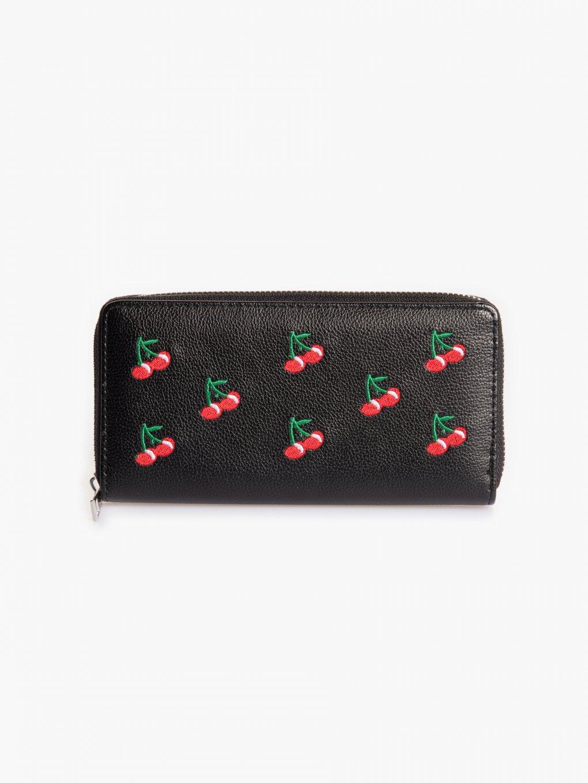Peňaženka s výšivkou čerešní