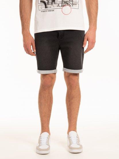 Knitted denim shorts