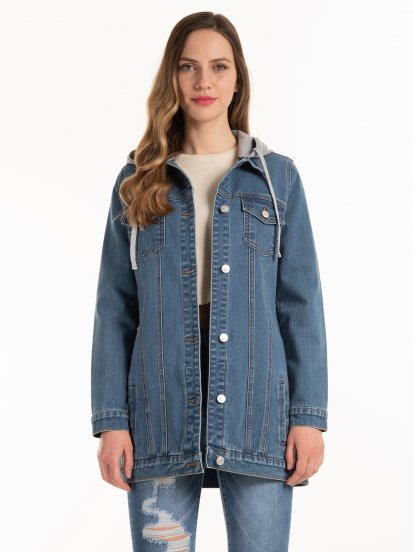 Prolonged hooded denim jacket