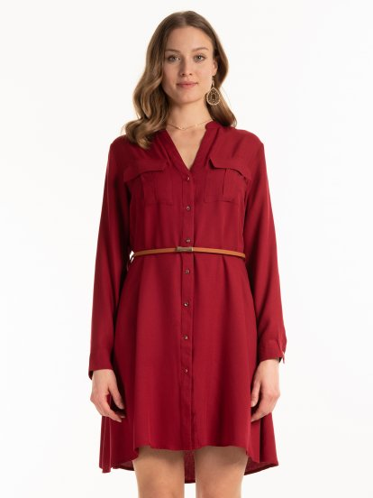 Belted button down dress