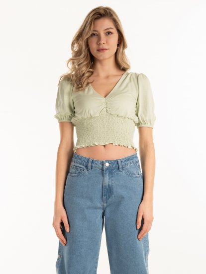 Viscose crop top with ruffle