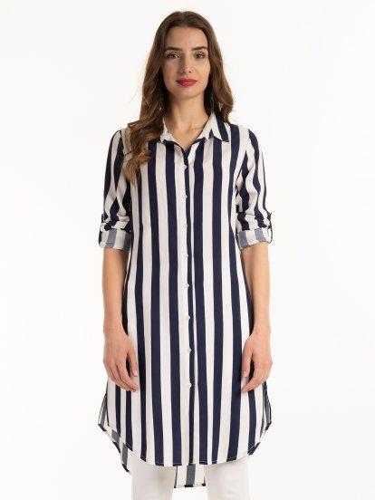 Longline striped blouse