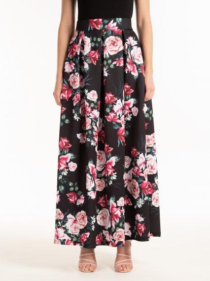 Długa spódnica w kwiatki