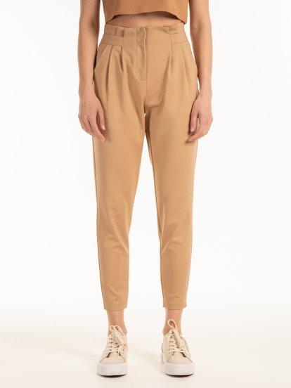 Elastické nohavice s vysokým pásom