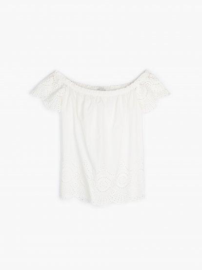 Bavlnený top s odhalenými ramenami