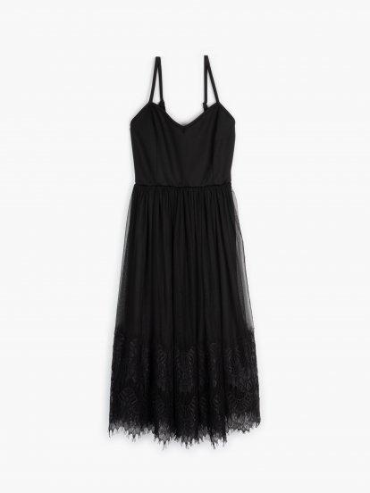 Kombinované šaty na ramínka