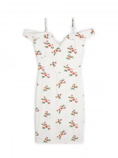 Obtažené šaty s květinovým potiskem