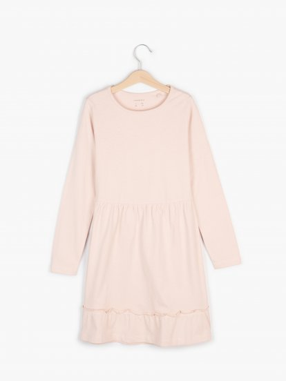 Cotton jersey dress with ruffle