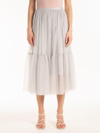 Tylová sukně midi