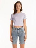 Krótka koszulka basic z bawełny
