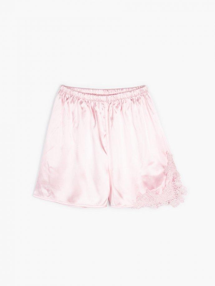 Satin pyjama shorts with lace