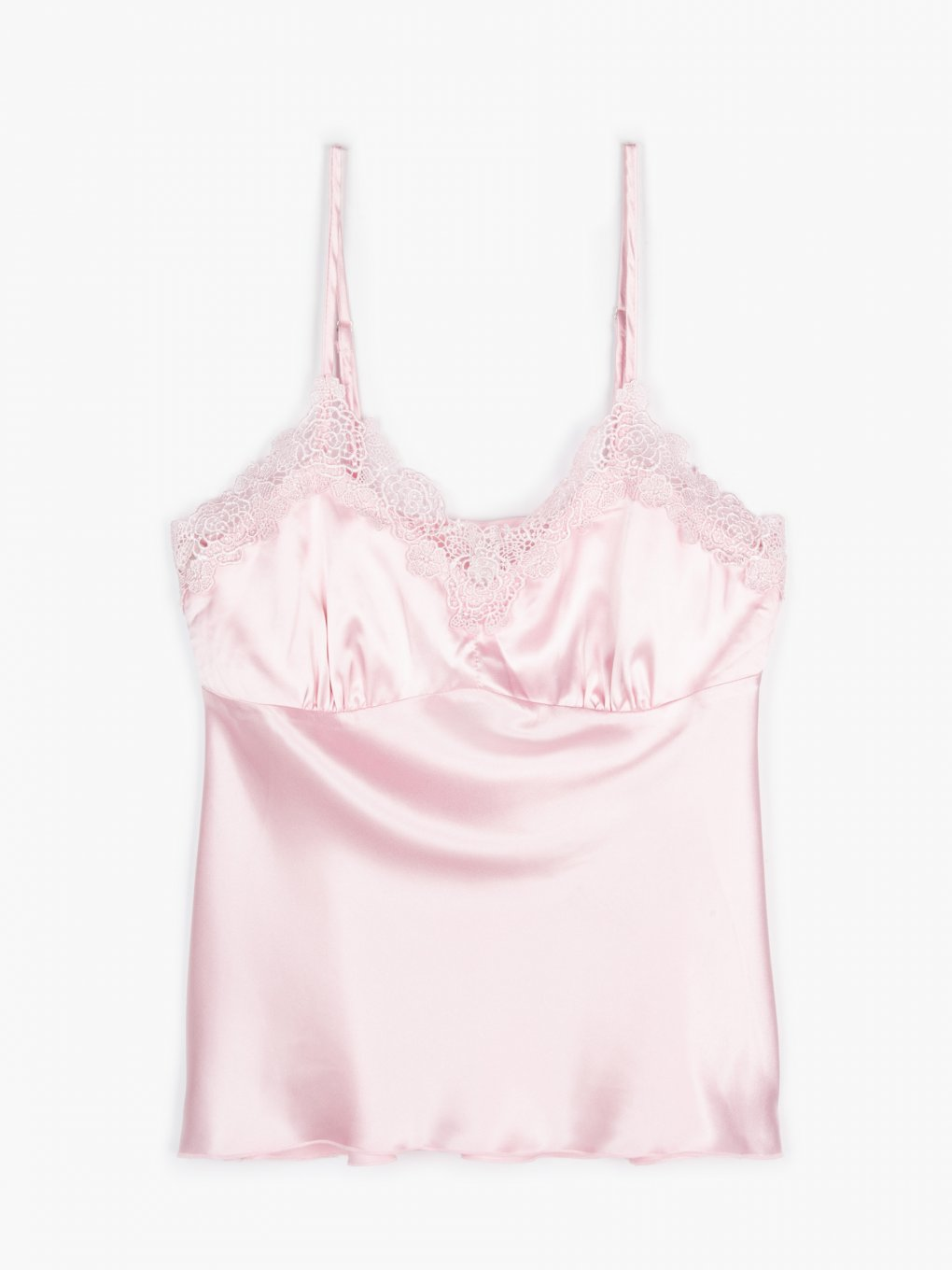 Satin pyjama camisole with lace detail