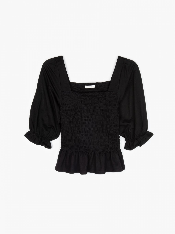 Puff sleeve crop blouse