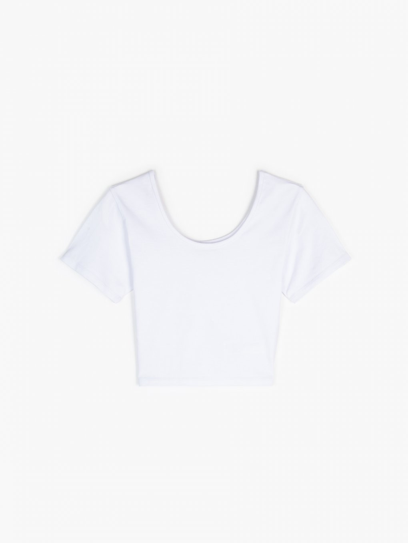 Krótka koszulka basic z elastyczną gumką