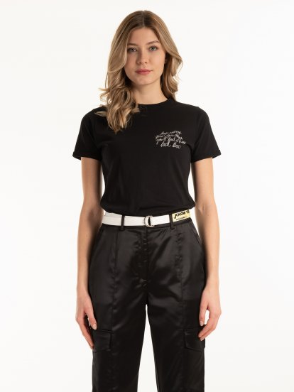 Cotton t-shirt with slogan print