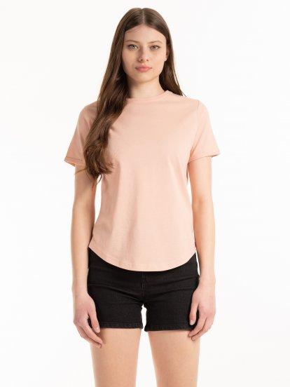 T-shirt basic z bawełny z okrągłym dołem