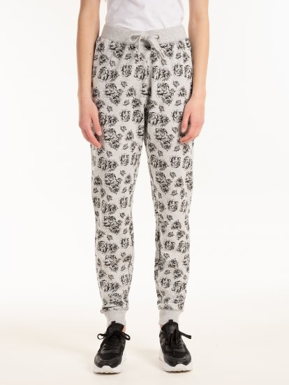 Sweatpants with floral print