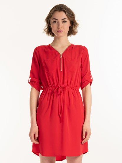 Plain dress with zipper
