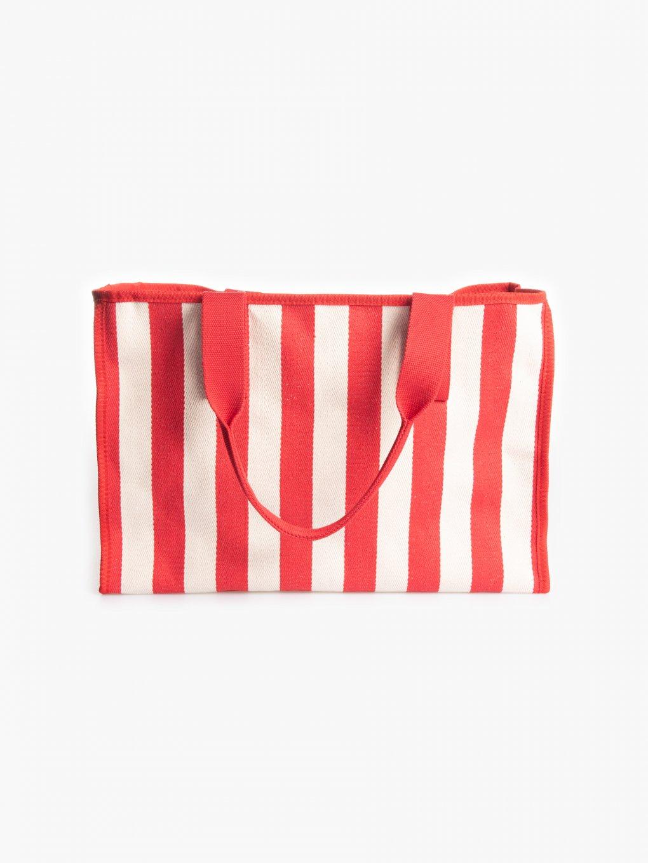 Prúžkovaná plátená taška