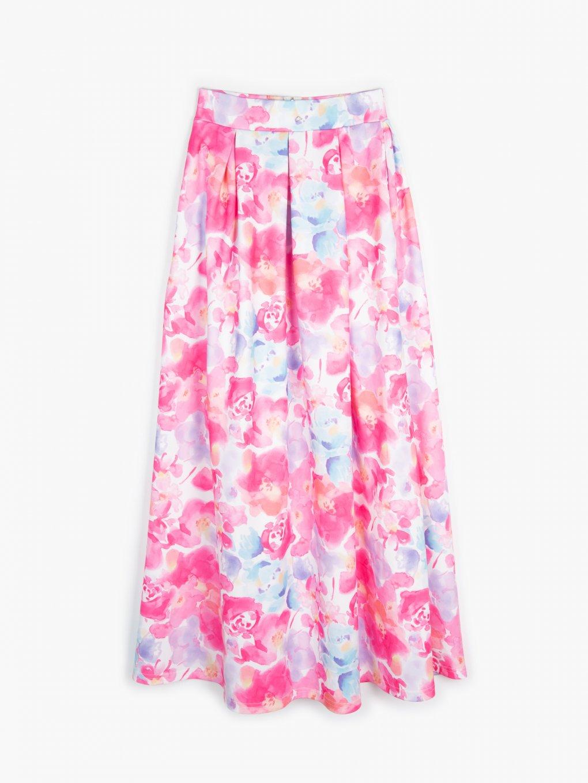 Dlhá sukňa s kvetovanovou potlačou