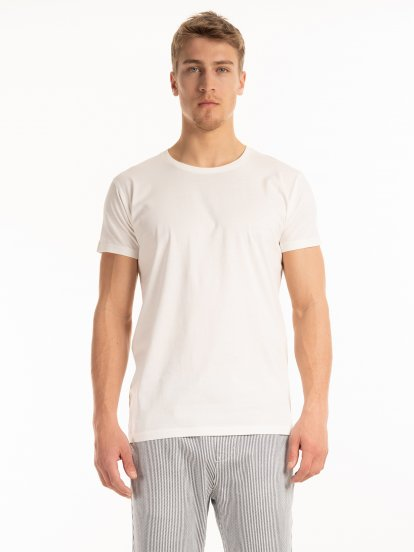 T-shirt basic z bawełny slim fit