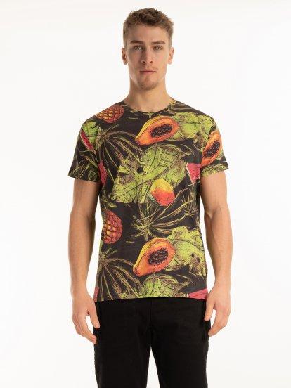 Floral print cotton t-shirt