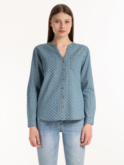 Polka dot print cotton blouse