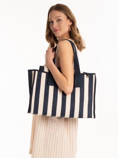 Proužkovaná plátěná taška