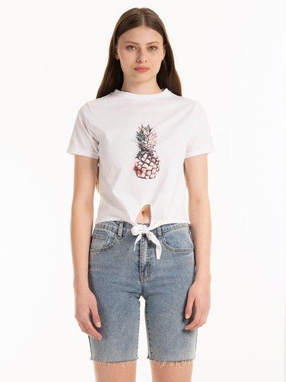 Krátke bavlnené tričko s uzlom
