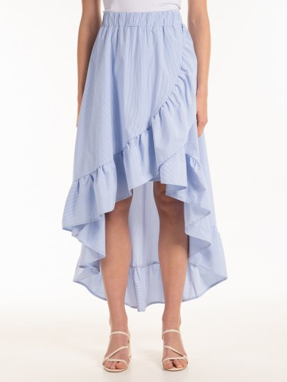 Wrap midi skirt with ruffle