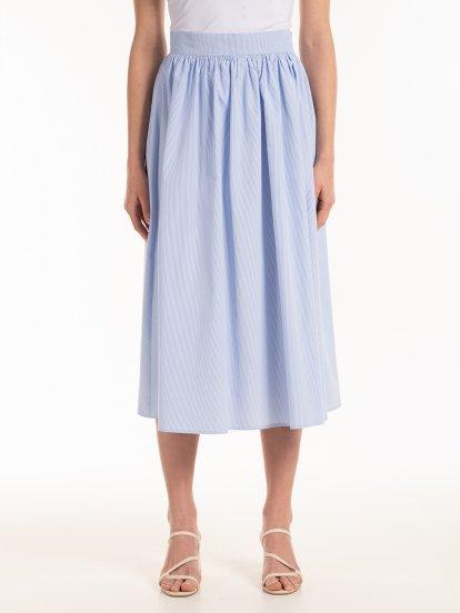 A-line striped midi skirt