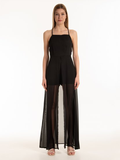 Short jumpsuit with long train