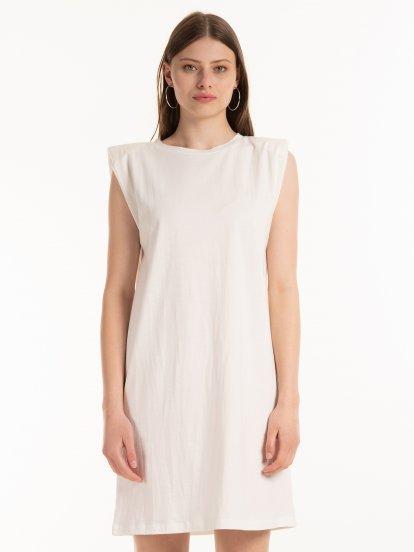 T-shirt dress with shoulder pads