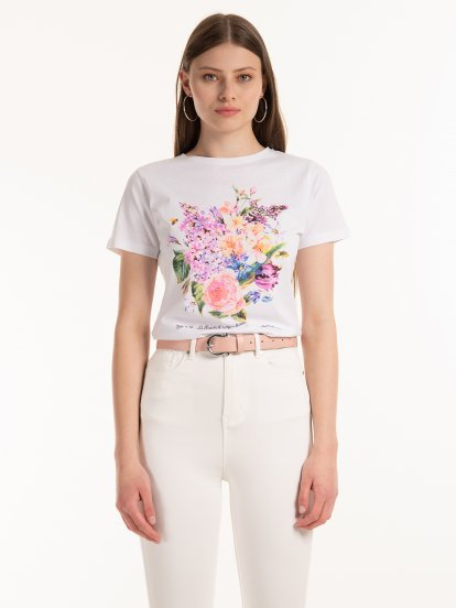 Cotton t-shirt with floral print