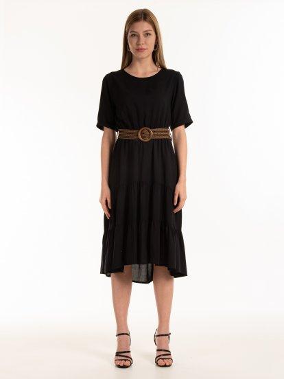 Šaty midi s opaskom