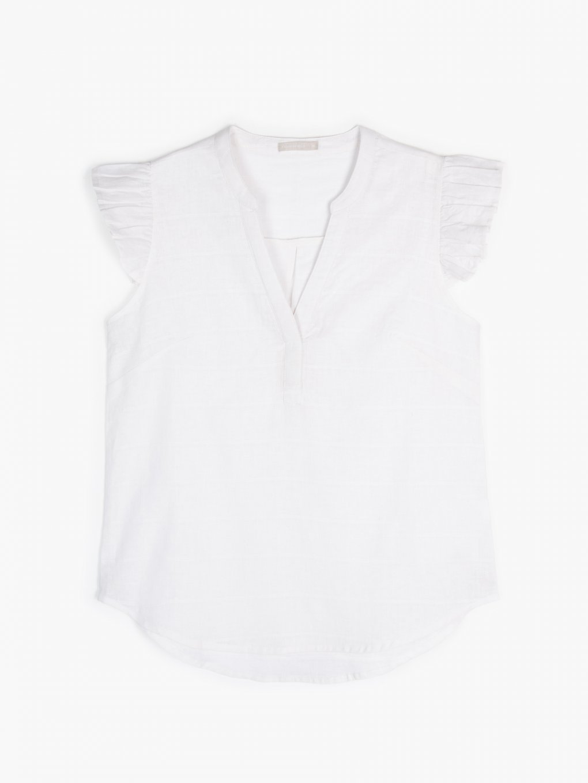 Linen blend ruffled sleeve blouse