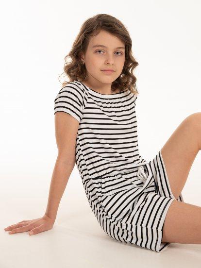 Striped short jumpsuit