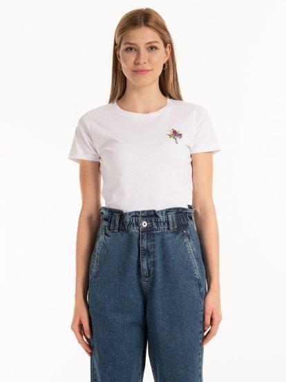 Bavlnené tričko s výšivkou