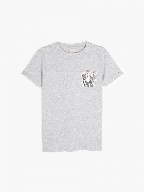 Bavlněné tričko s průhlednou kapsičkou