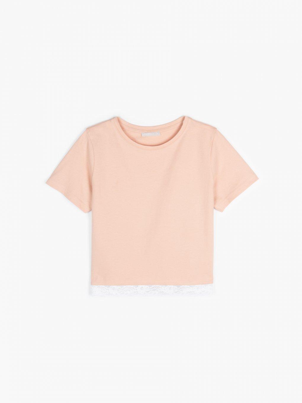 Krátke bavlnené tričko s čipkou