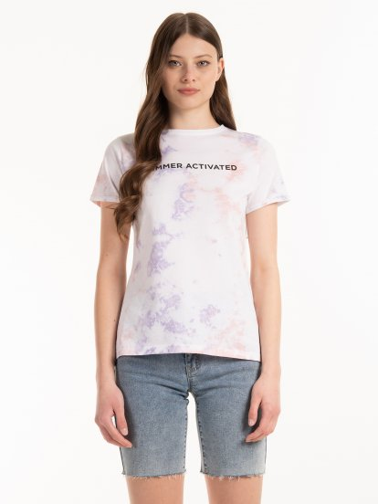 Tie dye t-shirt with slogan print