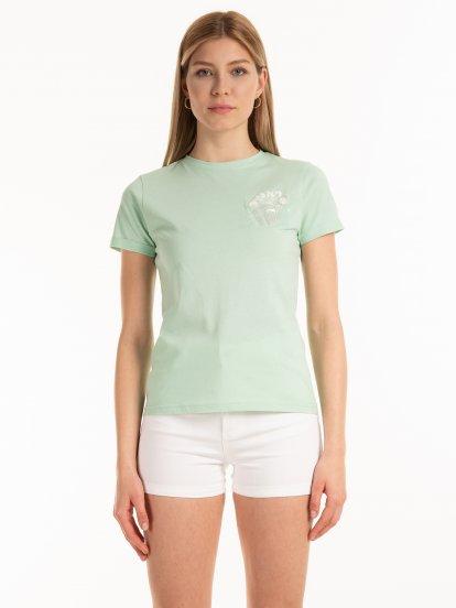 Bavlnené tričko s priehľadným vreckom