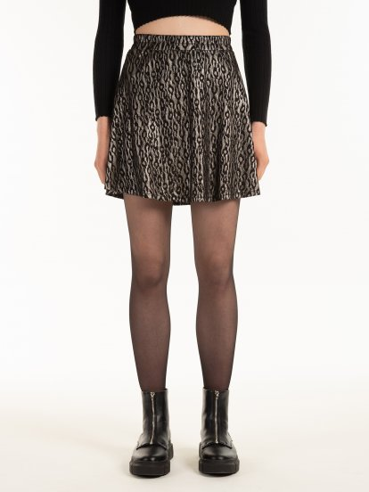 A-line skirt with metallic animal pattern