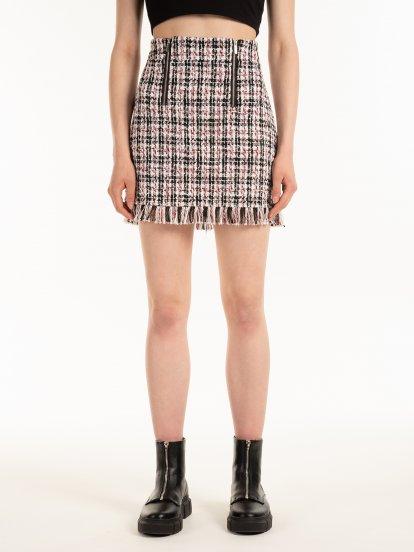 Jacquard skirt with fringes