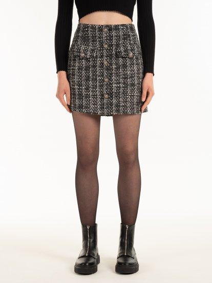Vzorovaná sukně s knoflíky