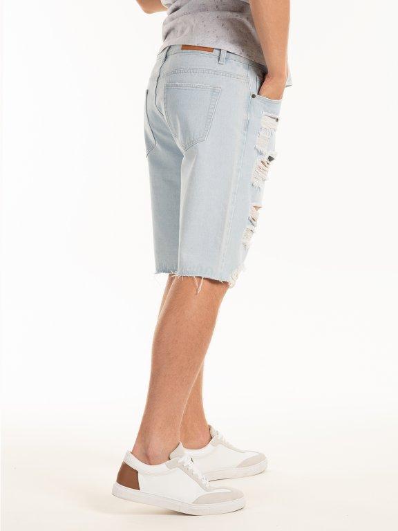 Distressed denim shorts