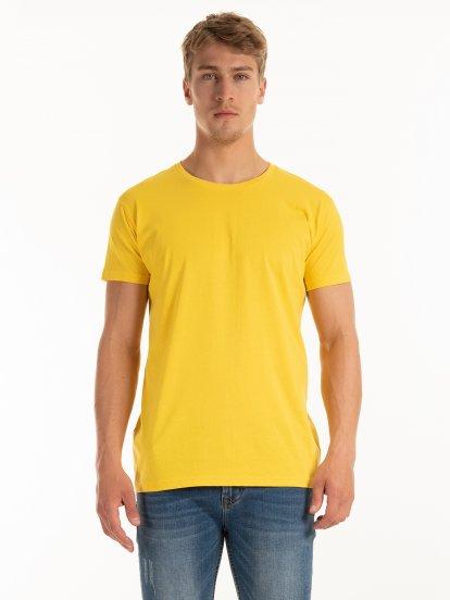 T-shirt basic z bawełny slim fit