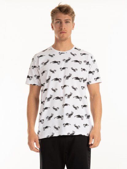 Potlačené bavlnené tričko